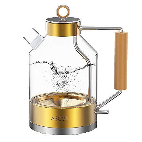 Electric Kettle, ASCOT Electric Tea Kettle 1.6L 1500W Glass Electric Kettle,Gold Stainless Steel, BPA-Free, Cordless…