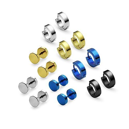 [Stainless Steel Multi Color Pierced Tunnel Stud Earrings and Small Huggie Hoop Earring 7 Pair Set] (Simple 3 People Costumes)