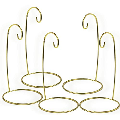 BANBERRY DESIGNS Christmas Ornament Stand - Set of 5 Gold Metal Wire Ornament Stands - Display Holder - 7