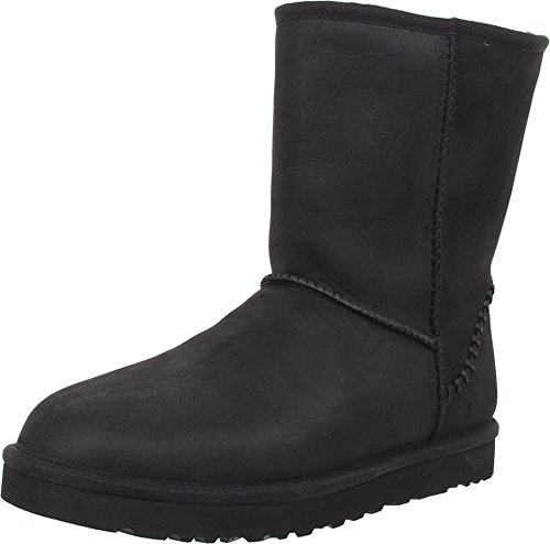 UGG Men's Classic Short Deco Black Leather Boot 18 D (M) by UGG