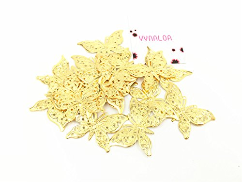 YYaaloa 30pcs 40x26mm Butterfly Charms Pendant for Necklace Bracelet Crafting Jewelry Making Accessory (30pcsGold Butterfly (Diy Halloween Costumes For Groups)