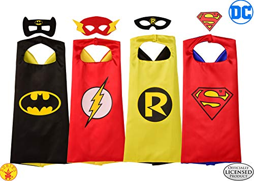 Batman & Robin Costumes For Kids (Rubie's Super Hero Cape Set Officially licensed DC Comics Assortment  4 Capes, 3 Masks, and 1 Chest Piece, One Size (Amazon)