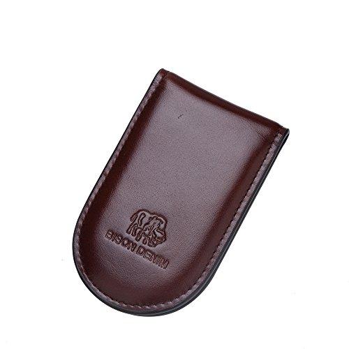 BISON DENIM Classic Cash Money Clip Wallet Credit Card Holder with Slim Magnetic Design Brown (Design Magnetic Clip)