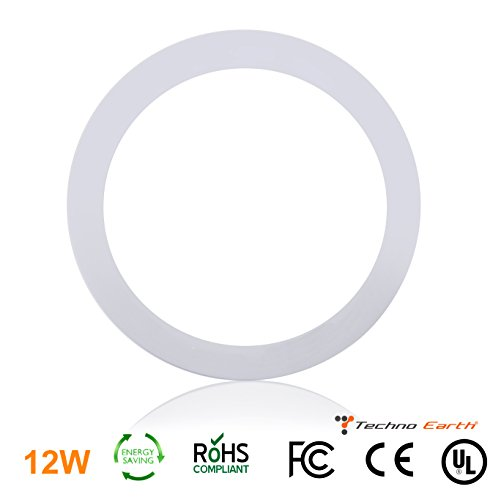 Techno Earth 12W Dimmable Round Ceiling Panel Led Ultra Thin Glare Light Kits with Led Driver AC 85-265V - Natural White (Mercury Ballast Kits)