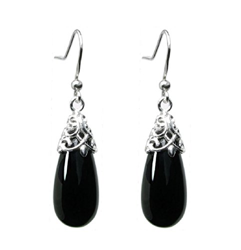 (Sterling Silver Black Natural Onyx Teardrop Dangle Filigree Flower French Hook Earrings)