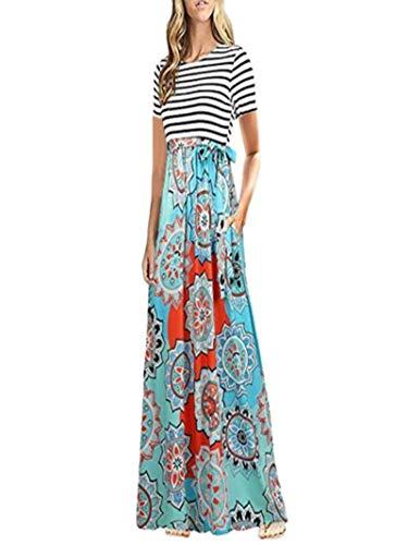 iYBUIA Summer Women Boho Short Sleeve Striped Floral Print Party Beach Long Maxi Dress(Blue,L) -