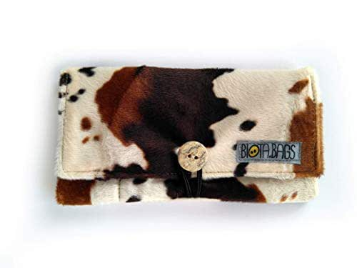 Funda tabaco de liar piel de vaca vegana, pitillera para los complementos de fumador, tabaquera de tela