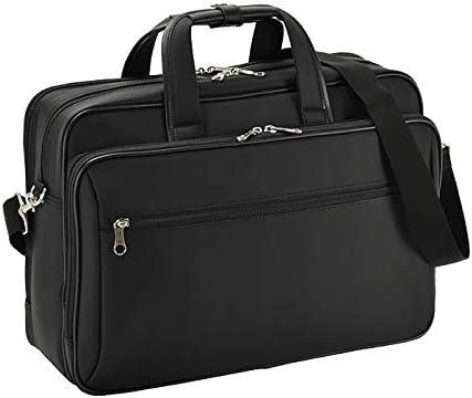 平野鞄 ビジネスバッグ ブリーフケース メンズ B4サイズ A4 タブレット対応 キャリーバー通し 2室 2way ケーブルホール ビジネス 通勤 出張 黒 ブラック 横幅42cm +オリジナル高級ムートングローブ
