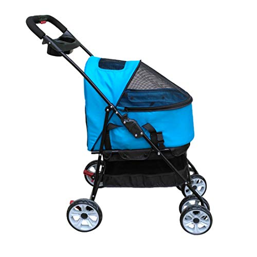 Zsmous Folding Four Rounds Dog Strollers with Plate Basket Rotating Anti-Vibration Wheel Oxford Cloth Small Medium Dog and Cat Jogger Pet Stroller,Blue,4870102