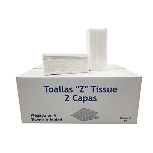 Caja de 20 paquetes de Toallitas Z Tissue o toallas Zig Zag secamanos: Amazon.es: Oficina y papelería