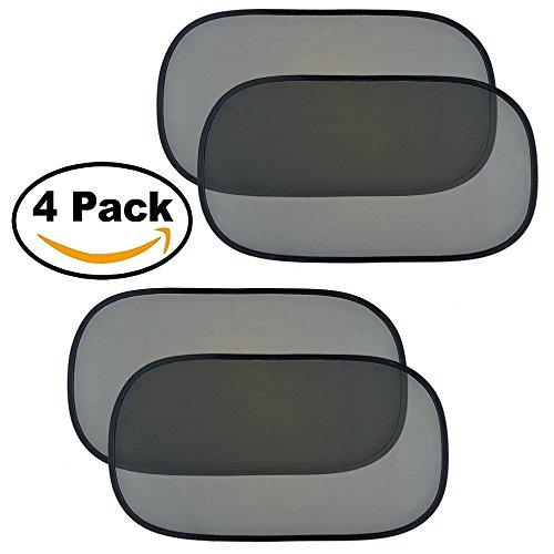 "Car Window Shade (4 Pack) Large 80 GSM for Maximum Sun, Glare and UV Rays Protection for Your Child - 20""x12"" - Cling Sunshades for Baby, Pets and Kids – - For Face Round Glares"