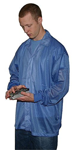 StaticTek Full Sleeve Knit Cuff ESD Jacket | Anti-Static Lab Coat | Certified Level 3 Static Shielding | Light Weight | ESD Smocks with High ESD Protection | Large | Light Blue | TT_JKC8804LB
