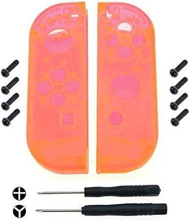 SzKing 任天堂スイッチジョイスティックボタンキット用透明色のプラスチックハウジングシェルケースカバーの交換 ホット (Color : Orange)
