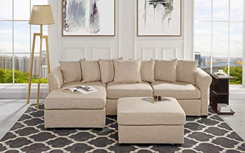 Upholstered Sectional Sofa with Ottoman, L-Shape Couch with Chaise - 96