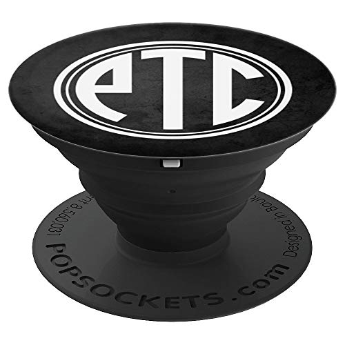 PTC Monogram Phone Grip Initials PTC or PCT on Black - PopSockets Grip and Stand for Phones and Tablets