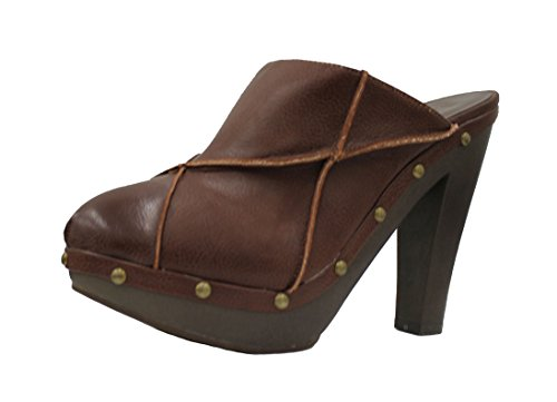 Forever21 Oki Stun Womens Leatherette Round Toe Faux Wood Studded Wedge Clogs Sandal Shoes  7  Dark Brown B