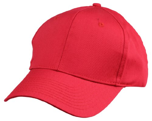 Blank Hat 6 Panel Cotton Twill Cap in Red (Hats For Cheap)