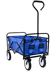"Kaito TC3015 Collapsible Outdoor Utility Wagon with 8"" Wheels and Padded Handle"