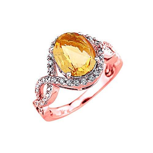 Elegant 14k Rose Gold Diamond Personalized Genuine Citrine Infinity Engagement Ring (Size 12)