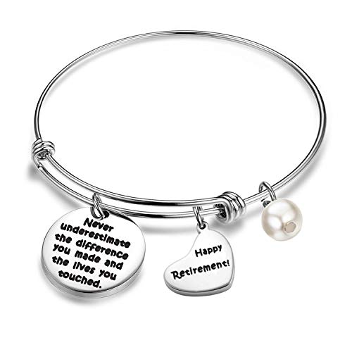 AKTAP Retirement Jewelry Happy Retirement Bracelet Never Underestimate The Different You Made and The Lives You Touched Inspirational Quotes Best Retirement Gifts for Women (Retirement Bracelet)