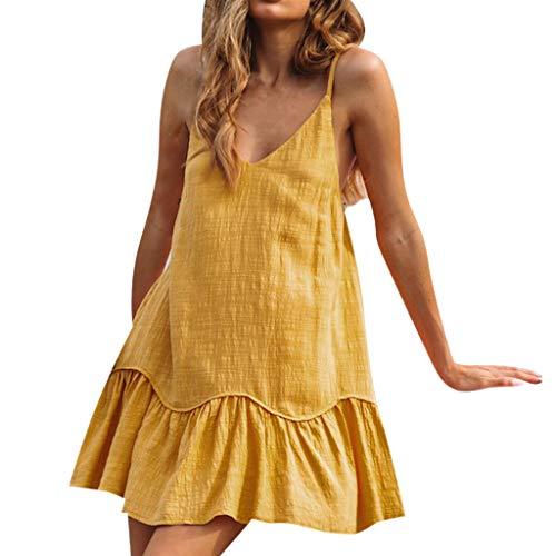 Women O Neck Sleeveless Mini Camisole Dress Summer Loose Beach Blackless Dress & ()