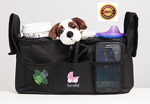 Stroller Organizer - Universal Fit by Luvaby - Premium Quality Stroller Bag - Best of All Stroller Organizers - Fits all Baby Strollers - Stroller Travel Bag - Back of Seat Organizer - Spoil Your Baby