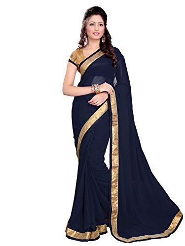 Mirchi Fashion Women's Faux Georgette Lace Wrok Wedding Sari Free Size Dark Blue