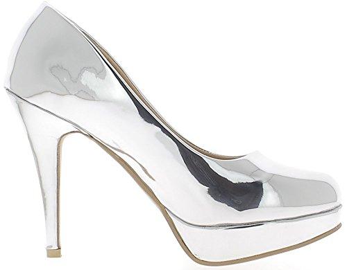 Zapatos de mujer grande tamaño plata plata a tacón de 12.5cm y plataforma