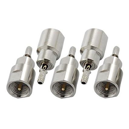 eDealMax 5pcs recta FME Macho Crimp RF adaptador de conector Para Cable RG174 RG316 LMR100