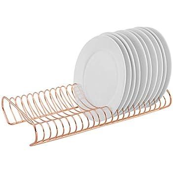 MyGift Rose Gold Dish Drying Rack & Plate Storage Organizer