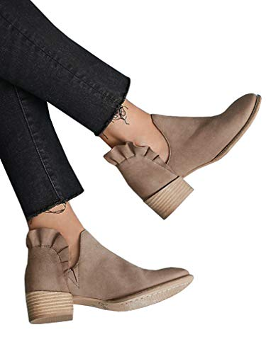 Womens Ruffle Ankle Booties Low Chunky Block Stacked Heel Boots Slip On Pointed Toe Western Shoes