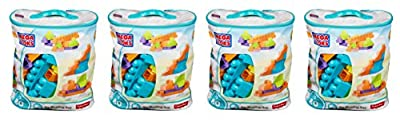 Mega Bloks KxPXTR 80 Piece Big Building Bag, Classic, Light Blue, 4 Units