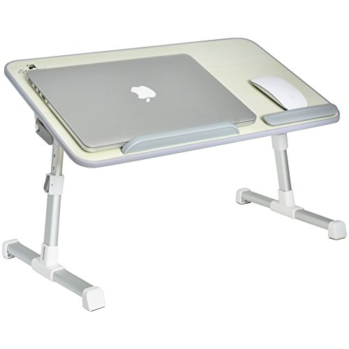 Portable Adjustable Variable Height Laptop Stand/Desk/Table For Use On Bed, Couch/Sofa, Sitting Or Stand Up Desk With Wide Tray For Mouse Pad