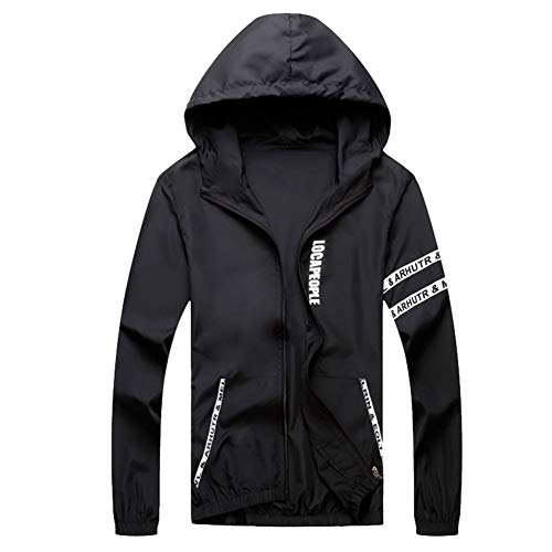 Men Quick Dry Jacket Long Sleeve Zipper up Lightweight Hoodie Striped Jacket Training Workout Activewear by Lowprofile Black