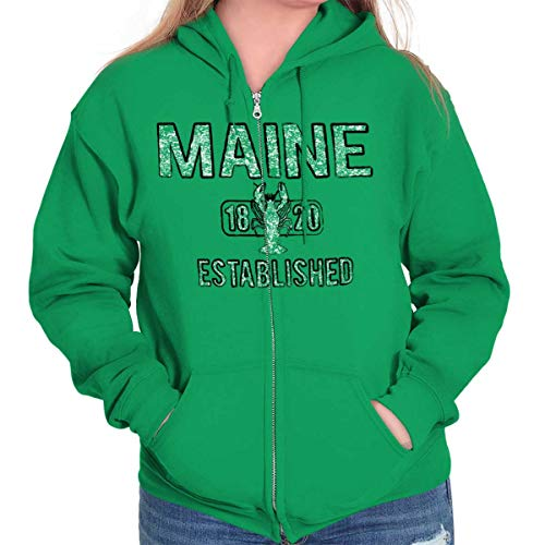 Maine Lobster Vintage Gym Workout Americana Zip Hoodie Irish Green