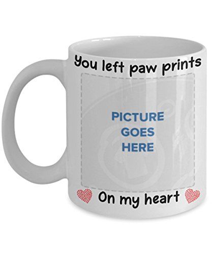 You Left Paw Prints On My Heart Custom Personalized Photo Mug Remembrance Memorial Coffee Cup - Gift for Her, Him, Rescue Mom, Dad, Wife, Aunt, Dog, Cat Owner - Coffee Mug Tea Cup - White Ceramic