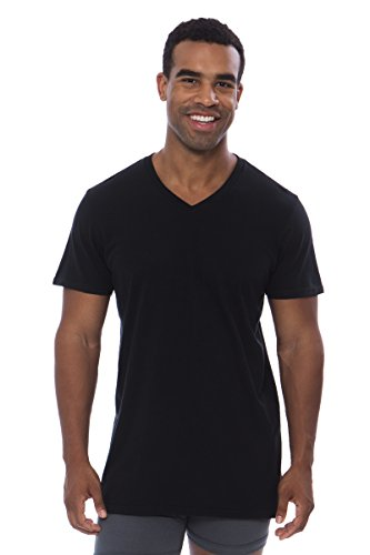 Texere Men's Organic Cotton V-Neck Undershirt (Wayra, Black, XXL) Gifts for Dad