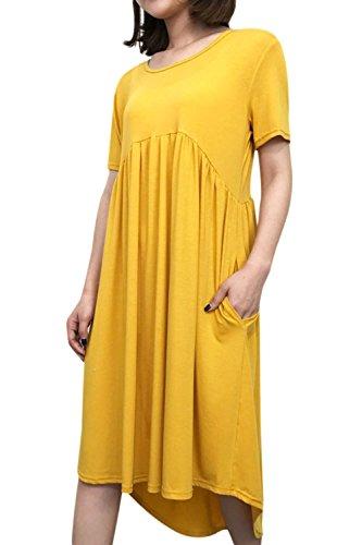 Zojuyozio Maniche Corte Tunica Vestito Casual Estiva Con Vestiti Di Taglia Yellow