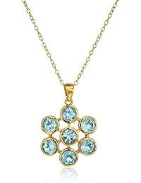 Gold Plated Sterling Silver Blue Topaz Flower Pendant Enhancers