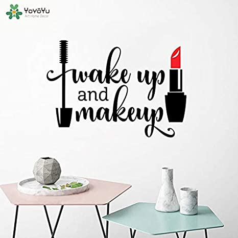 Ajcwhml Tatuajes de Pared Salón de Niñas Despertar y Maquillaje de Vinilo Etiqueta de La Pared Mascara Impermeable Lápiz Labial Salón de Belleza Decoración 57x82 cm: Amazon.es: Hogar