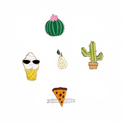 Kalapure Korea Cute Cartoon Alloy Ice Cream Cactus Pear Brooch Set Drop Oil Badge (cactus)