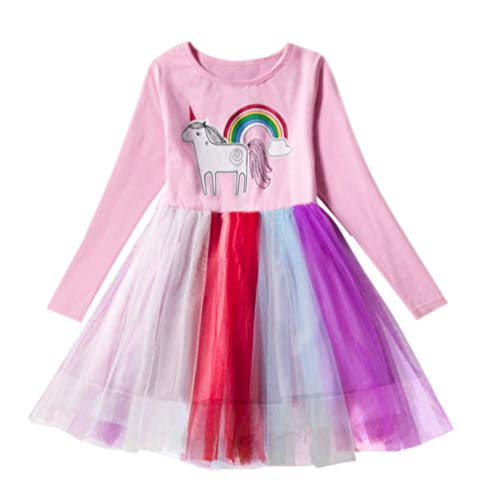 Ac.y.c Toddler Girls Unicorn Dress-Winter Spring Long Sleeve Dress Tutu Tulle Layered Casual Skirt for Kids 2-8 Years (100cm/2-3Y, Rainbow) -