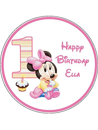 Baby Minnie Mouse 1st Birthday Novelty 75 Round Edible Birthday