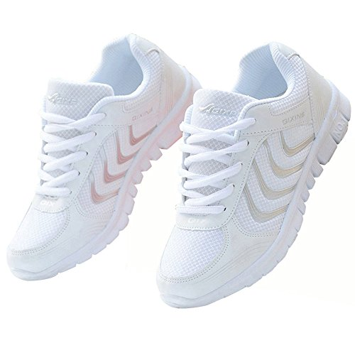 Alicegana Women's Breathable Mesh Tennis Athletic Lace up Fashion Walking Comfort Lightweight Running White Sneakers Sports Shoes ()
