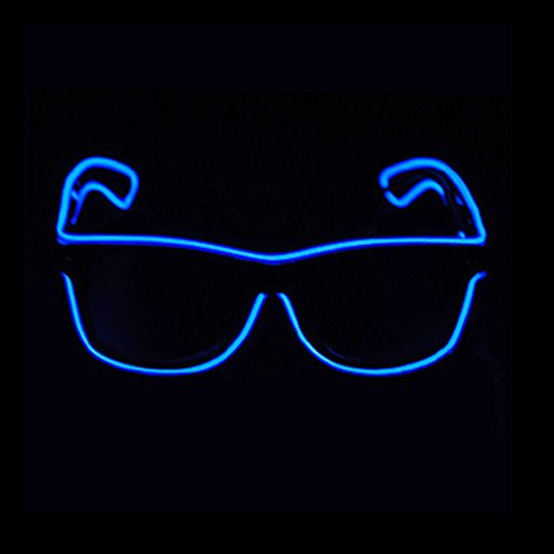 Aquat Light up El Wire Neon Rave Glasses Glow Flashing LED Sunglasses Costumes For Party, EDM, Halloween RB01 (Blue, Black Frame)