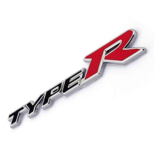 Universal Emblem 3D Metal Type R Emblem Badge Decal Car Sticker for Honda (Black) (Type R Logo)