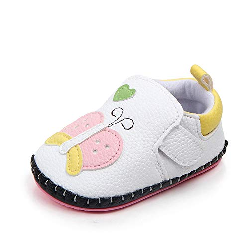 LIDIANO Baby Non Slip Rubber Sole Cartoon Animal Slippers Crib Shoes Infant/Toddler (12-18 Months, White Butterfly)