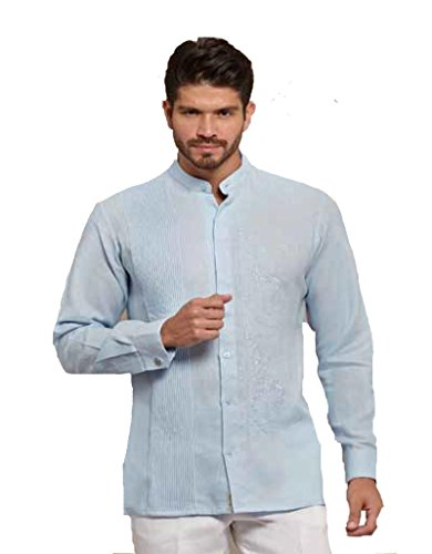 GUAYABERASCUBANAS Chinese Collar or Mao Collar Guayabera. Luxury Party Wedding Guayabera. No Pockets (2X, White) by GUAYABERASCUBANAS