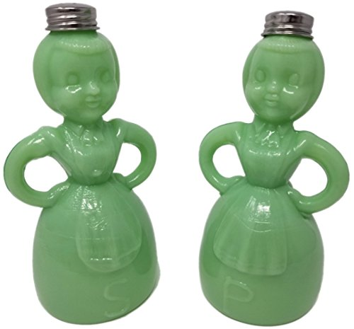 (Rhyne and Son Jadeite Lady Apron Salt & Pepper Shaker Set, Depression Style Glass)