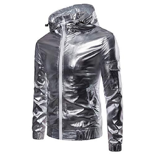 Windbreaker Hood Outwear Windproof Silver Glitter Jackets Full Men Zip Howme 6UYwTfx